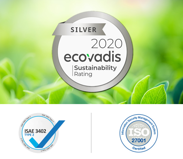EcoVadis 2020 Silver - ISAE 3402 - ISO 27001